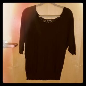 Express Mid-Sleeve Black Blouse w/Lace